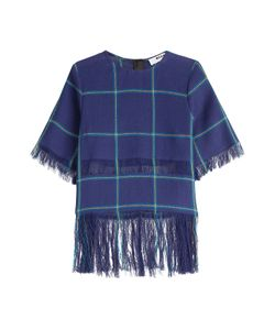 MSGM   Printed Linen Top With Fringe Gr. It 44