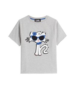 Karl Lagerfeld | Cut Off Sleeve Choupette On The Beach Cotton Sweatshirt Gr. L