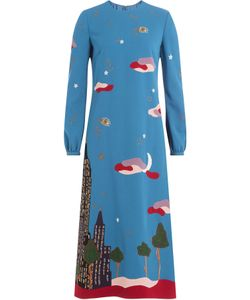 Valentino   Skyline Printed And Embroidered Virgin Wool Dress Gr. It 38