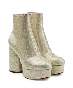 Marc Jacobs | Leather Platform Ankle Boots With Glitter Gr. It 38