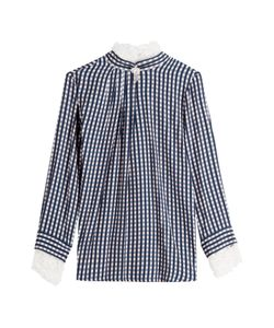 Preen | Gingham Blouse With Lace Gr. S