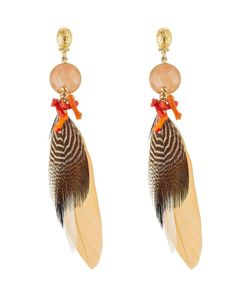 GAS BIJOUX | Serti Plume 24kt Plated Earring With Feather Gr. One
