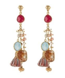 GAS BIJOUX | 24kt Plated Chandelier Earrings With Quartz Gr. One