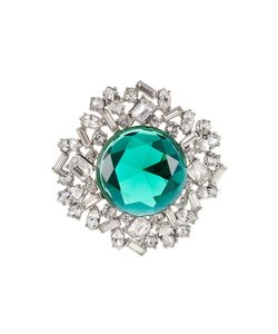 Kenneth Jay Lane | Crystal Brooch With Faceted Stone Gr. One