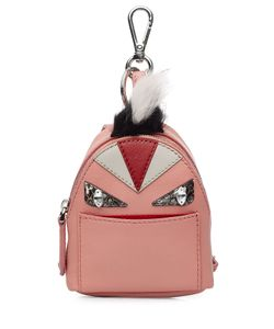 Fendi   Leather Backpack Charm With Fox Fur Gr. One