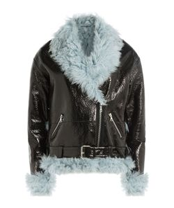 Sandy Liang | Leather And Shearling Biker Jacket Gr. Fr 40