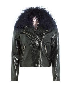 SHRIMPS | Patent Jacket With Faux Fur Collar Gr. Us 12