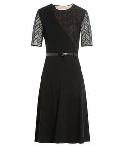 Jason Wu | Ponte/Herringbone Lace Short Sleeve Day Dress With Belt Gr. Us 8