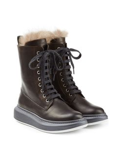 Brunello Cucinelli | Leather Ankle Boots With Fur Lining Gr. It 41