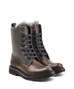 Brunello Cucinelli | Leather Ankle Boots With Tweed Gr. It 38