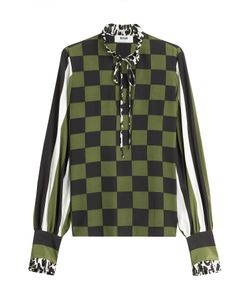 MSGM | Silk Mixed Print Tie Neck Blouse Gr. It 42