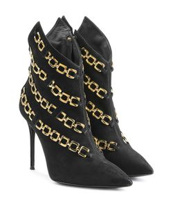 Giuseppe Zanotti Design | Chain Embellished Suede Ankle Boots Gr. It 39
