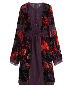 Anna Sui | Velvet Dress With Lace Trims Gr. Us 0