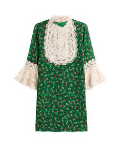 Anna Sui | Printed Silk Dress With Lace Gr. Us 4