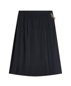 Burberry London | Pleated Silk Skirt With Chain Embellishment Gr. Uk 12
