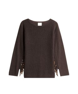 Claudia Schiffer for TSE | Wool Pullover With Embellished Fringe Gr. S
