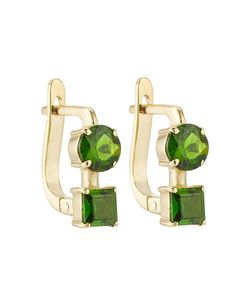 Ileana Makri | 18k Yelow Earrings With Chrome Diopside Gr. One
