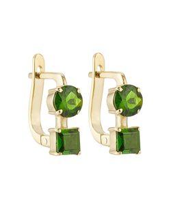 Ileana Makri | 18k Yelow Earrings With Chrome Diopside Gr. One