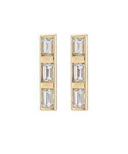 Ileana Makri | 18k Baguette Earrings With Diamonds Gr. One