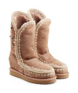 Mou | Eskimo Wedge Tall Sheepskin Boots With Embroidery Gr. Eu 38