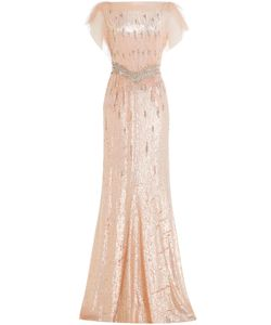 Jenny Packham | Sequin And Bead Embellished Floor Length Gown Gr. Uk 10