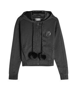 Karl Lagerfeld | Zipped Hoody With Fur Pom-Poms Gr. Xs