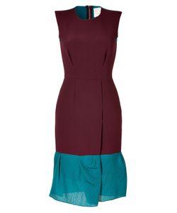 Roksanda Ilincic | Burgundy/Petrol Wool-Crepe Midi-Dress Gr. 38