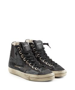Golden Goose | V Star 1 High Top Sneakers With Glitter And Leather Gr.