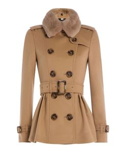 Burberry London | Wool And Cashmere Coat With Rabbit Fur Collar Gr. Uk 4