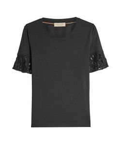 Burberry London | Cotton T-Shirt With Lace Gr. Xs