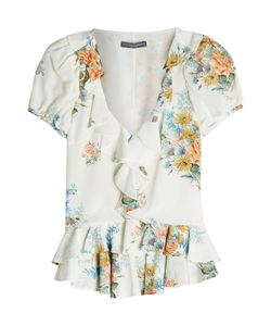 Alexander McQueen | Printed Ruffle Silk Blouse Gr. It 40