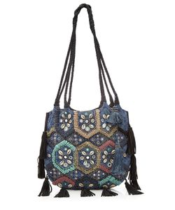 Christophe Sauvat | Embroidered And Embellished Tote Bag With Leather Gr. One Size