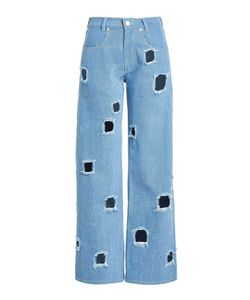 REJINA PYO | Straight Jeans With Cut-Out Holes Gr. Uk 6