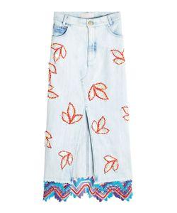 Peter Pilotto   Embroidered Denim Front-Slit Skirt Gr. Uk 12