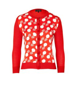 L\'Wren Scott | Red/Cream Printed Combo Cardigan Gr. L