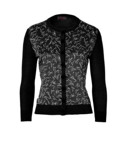 L\'Wren Scott | Black Signature Printed Combo Cardigan Gr. L