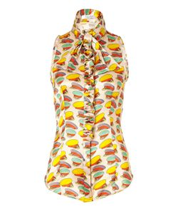 L\'Wren Scott | Soft Nougat-Multi Cap Printed Silk Top With Ruffle Gr. 36