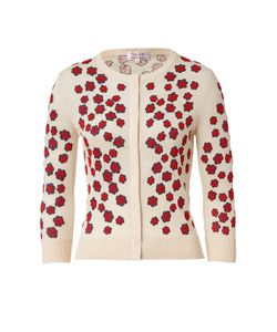 L\'Wren Scott | Cream-Multi Embroidered Cashmere-Blend Cardigan Gr. S