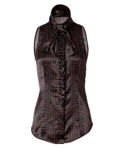 LWren Scott | Black/Red Tie Neck Silk Top With Ruffle Gr. 36