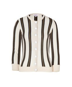 L\'Wren Scott | Cream/Black Striped Cashmere Cardigan Gr. S