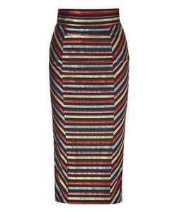 LWren Scott | Black-Multi Striped High Waisted Pencil Skirt Gr. 36