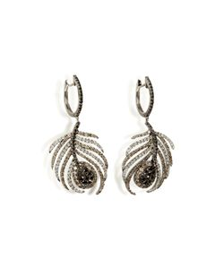 Nikos Koulis | Black Rhodium/Diamond Paradise Peacock Earrings Gr. One Size
