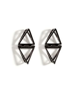 Lynn Ban | Black Rhodium Silver Double Triangle Earrings Gr. One Size