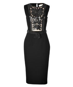 Collette Dinnigan | Sheath Dress With Leather Paneling In Black Gr. L