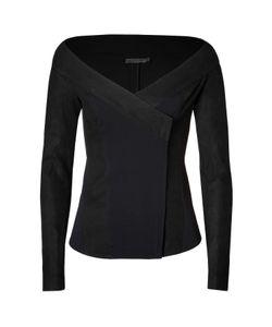 Donna Karan New York   Leather Trimmed Jacket In Black Gr. 40