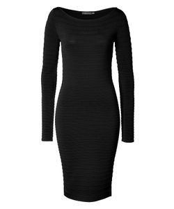 Donna Karan New York | Textural Ribbed Dress In Black Gr. L