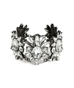 R.J.Graziano   Crystal Floral Link Bracelet In Gunmetal Gr. One Size