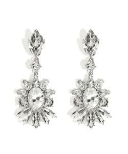 R.J.Graziano | Crystal Floral Drop Earrings In Silver Gr. One Size