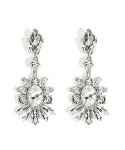 R.J.Graziano   Crystal Floral Drop Earrings In Silver Gr. One Size