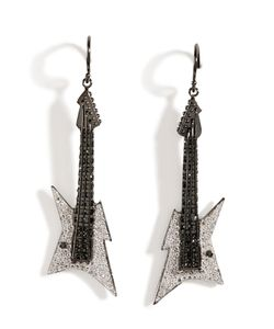 Lynn Ban | Black Rhodium Silver Guitar Earrings B In White Gr. One Size